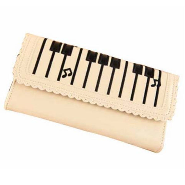 Piano Keyboard Musical Notes Shaped Bi Fold Clutch Wallet in Cream
