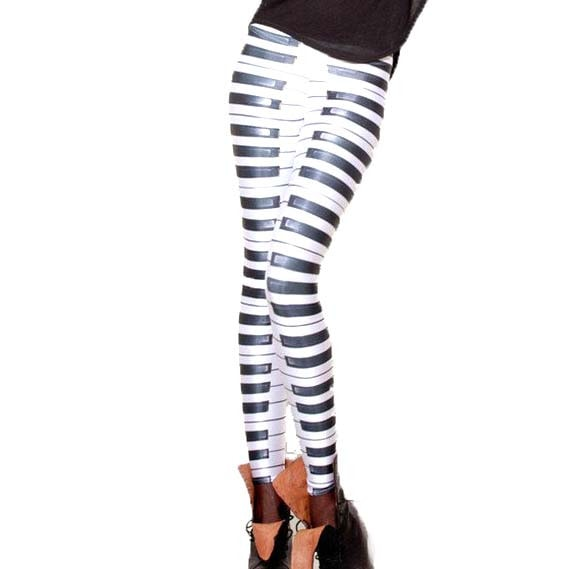 Piano Musical Keys Digital Print Statement Legging Pants for Women