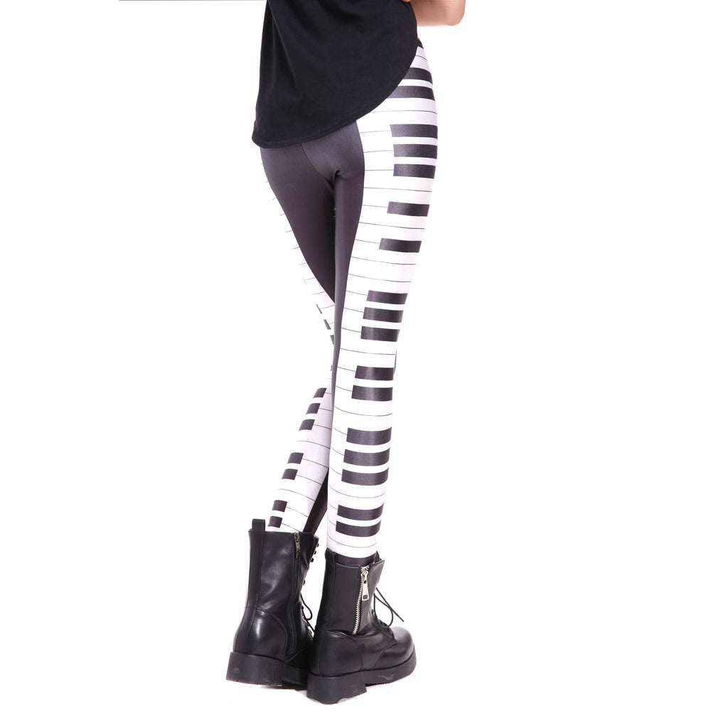 Piano Musical Keys Seams Digital Print Legging for Women in Black