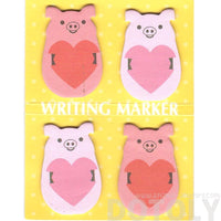 Piglet Pig and Heart Shaped Animal Memo Post-it Writing Markers