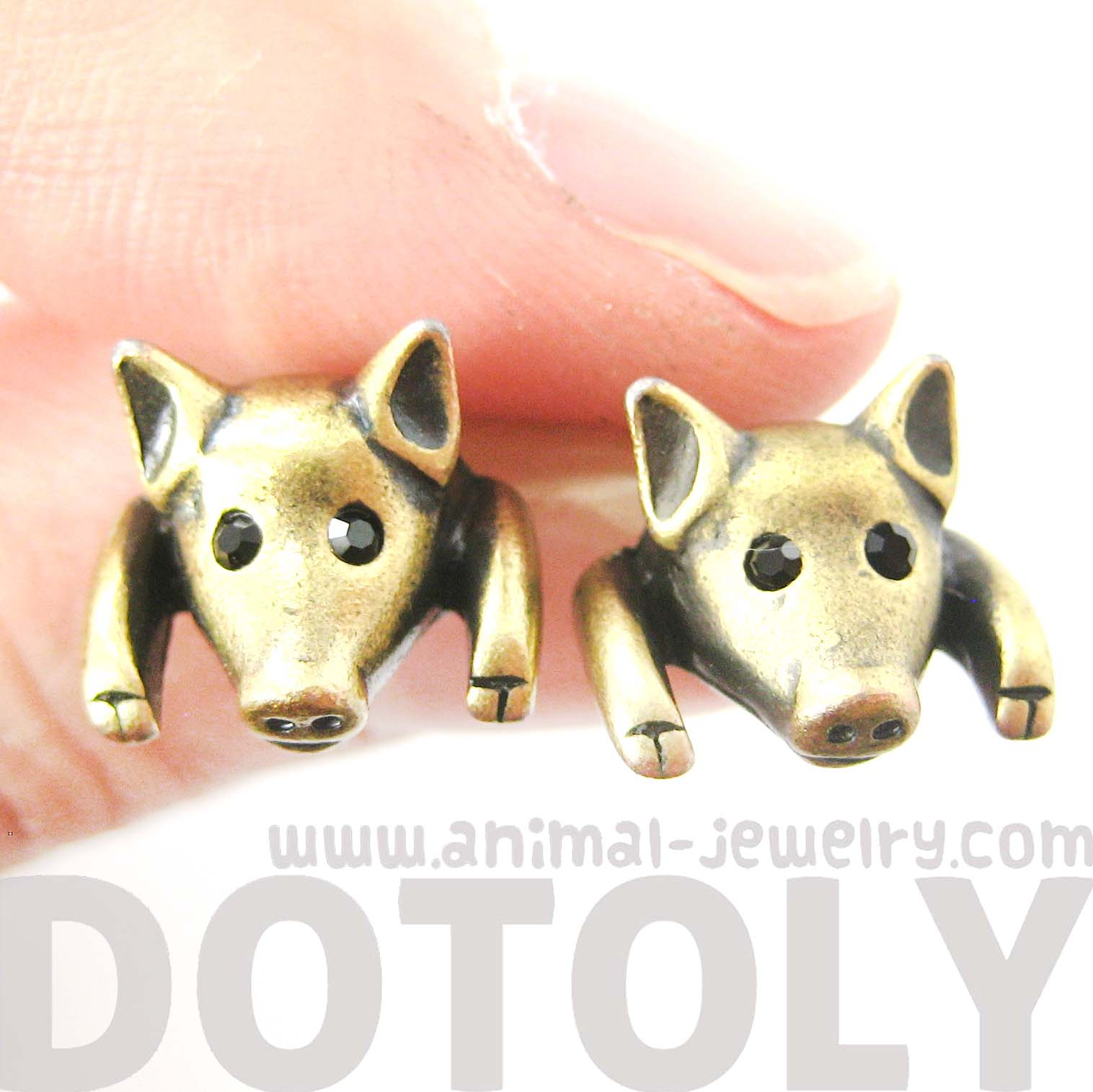piglet-pig-realistic-animal-stud-earrings-in-brass-animal-jewelry