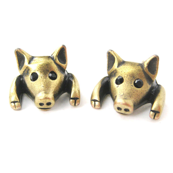 Piglet Pig Realistic Animal Stud Earrings in Brass | Animal Jewelry | DOTOLY