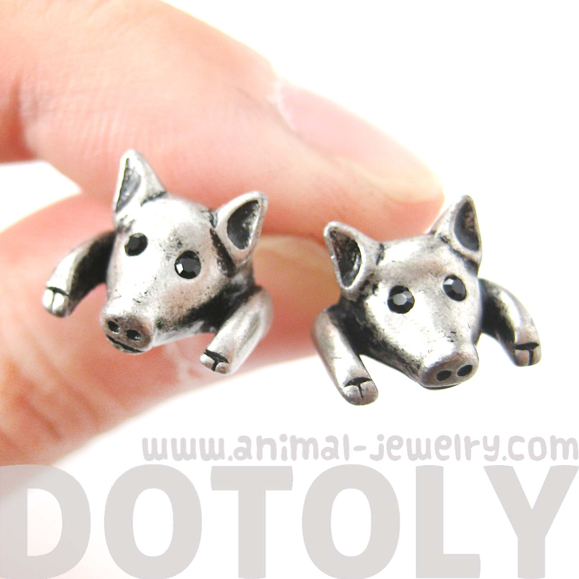 piglet-pig-realistic-animal-stud-earrings-in-silver-animal-jewelry