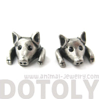 Piglet Pig Realistic Animal Stud Earrings in Silver | Animal Jewelry