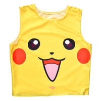 Pikachu Print Pokemon Themed Sleeveless Crop Top for Women