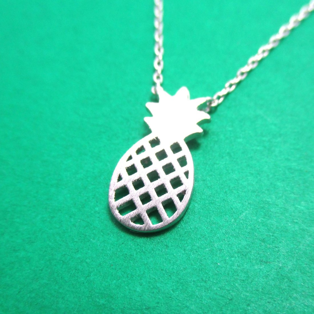 Pineapple Shaped Fruit Charm Necklace in Silver