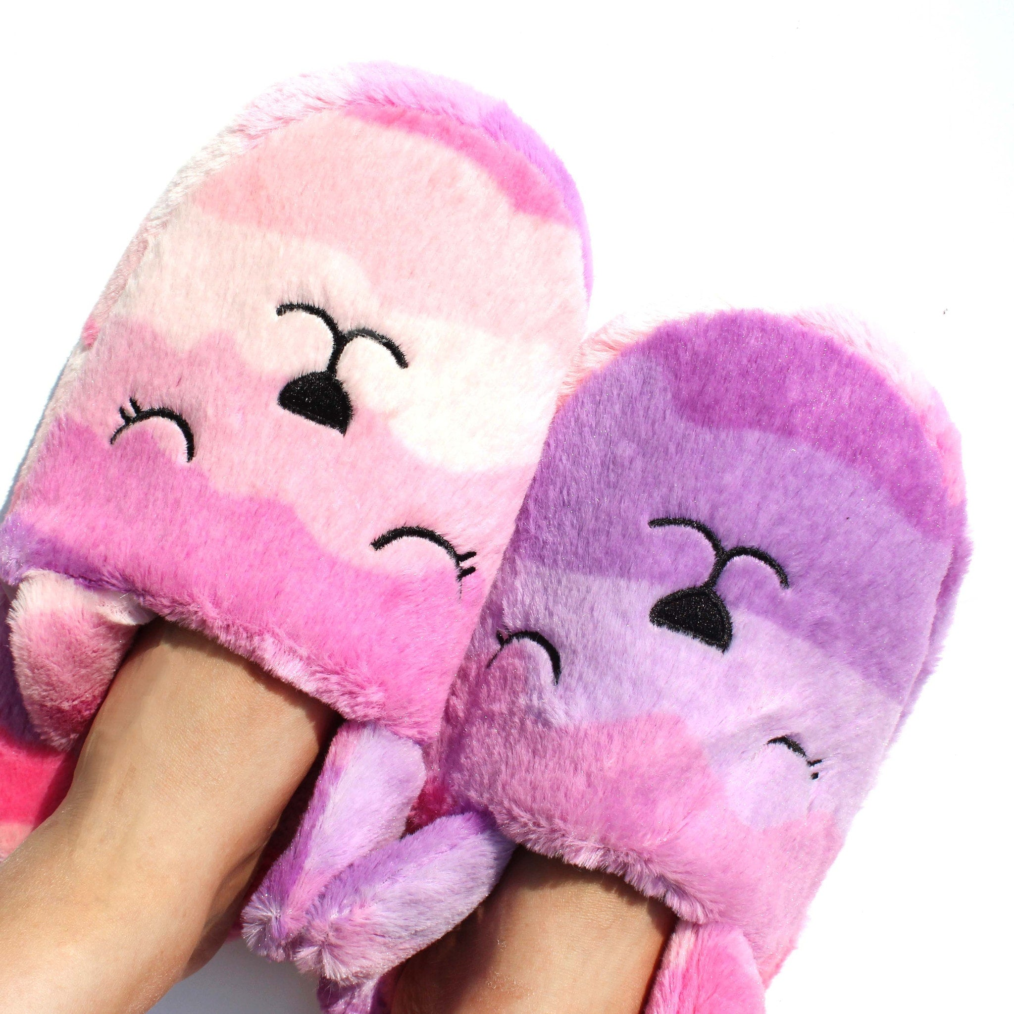 Pink and Purple Gradient Bunny Rabbit Shaped Slip-On Slippers for Women