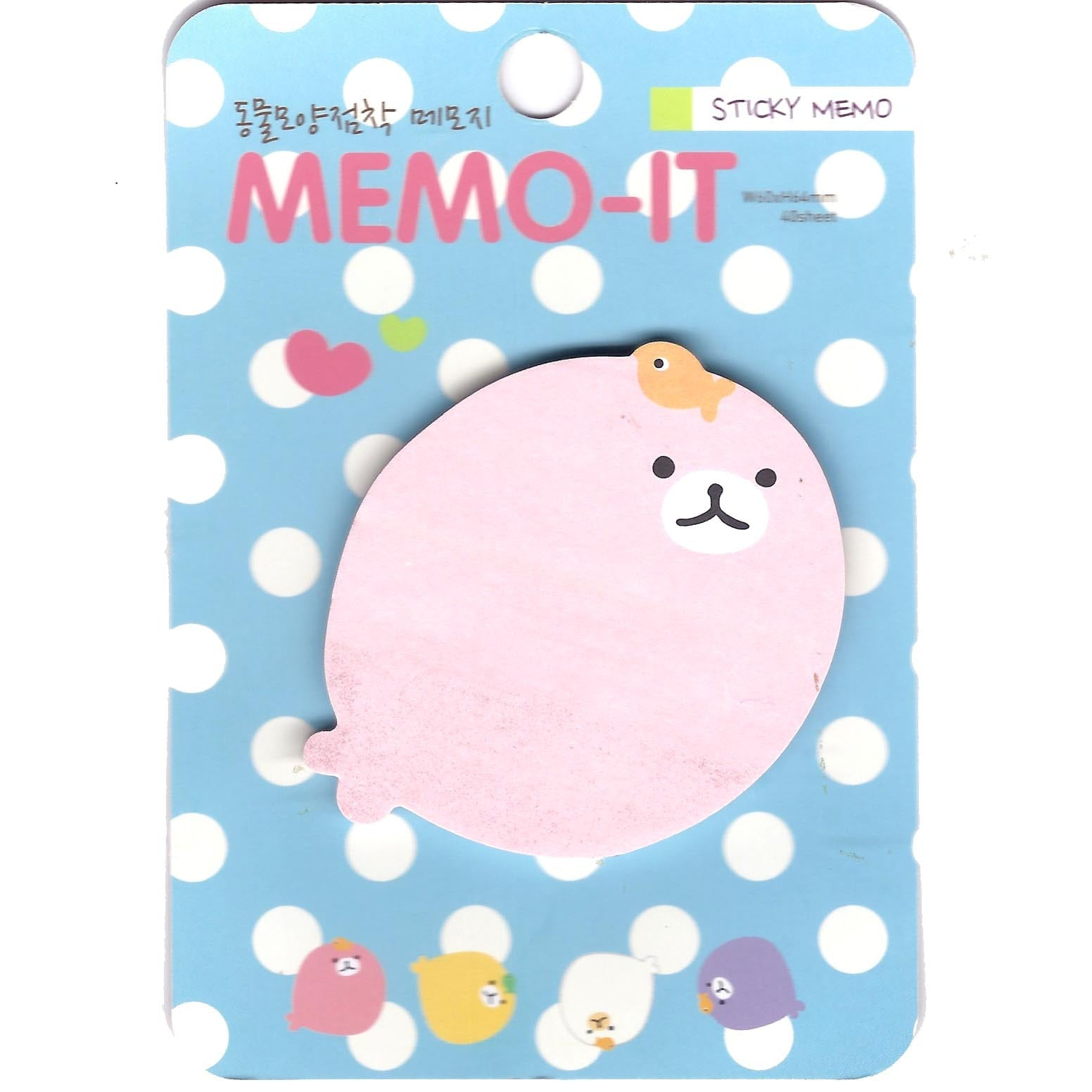 Pink Baby Seal Shaped Memo Post-it Note Pad | Animal Themed Stationery