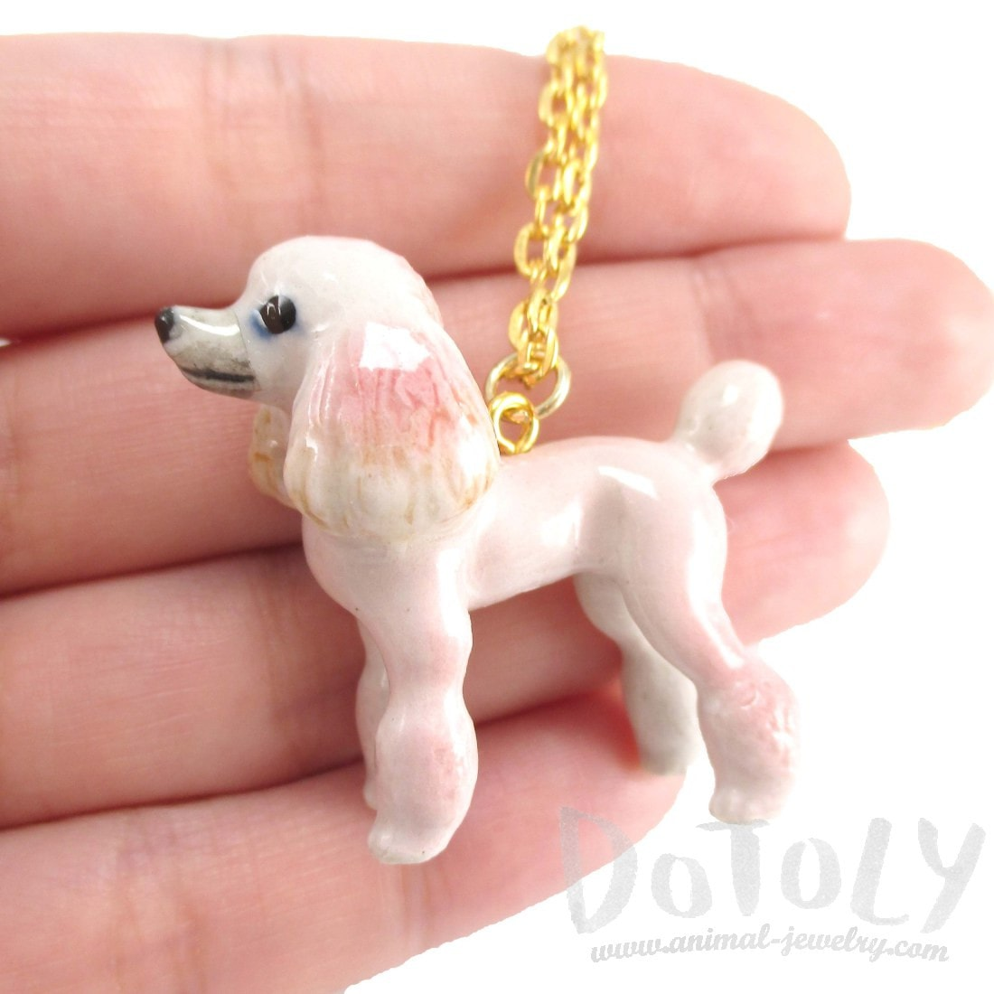 Pink French Poodle Puppy Dog Porcelain Ceramic Animal Pendant Necklace