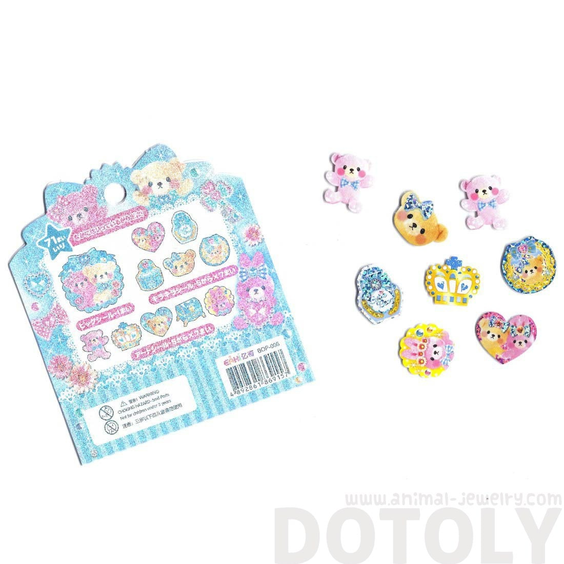 Pink Girly Teddy Bears and Gems Shaped Sticker Flake Seals From Japan