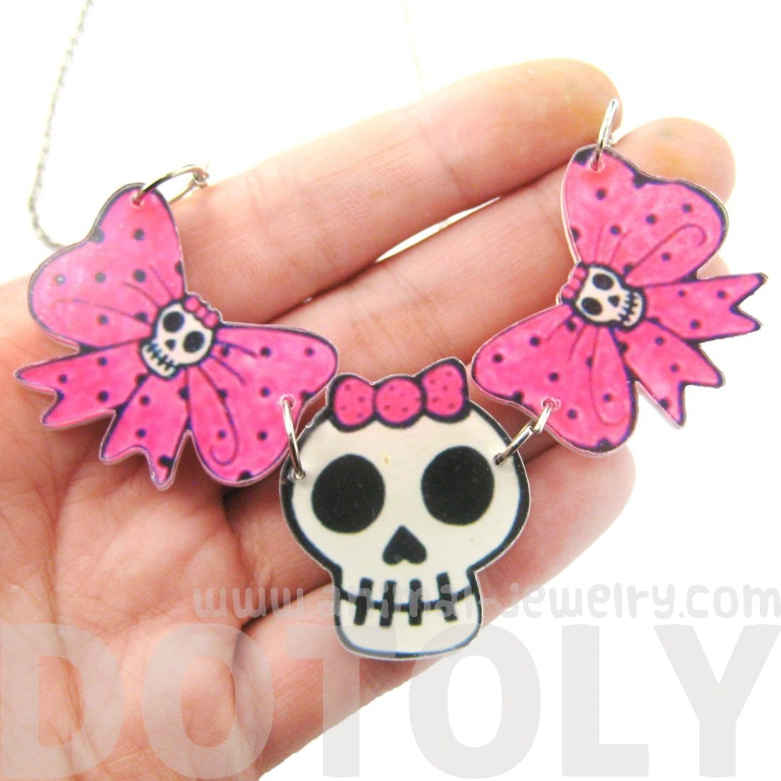Pink Polka Dot Bow and Skeleton Skull Shaped Acrylic Pendant Necklace