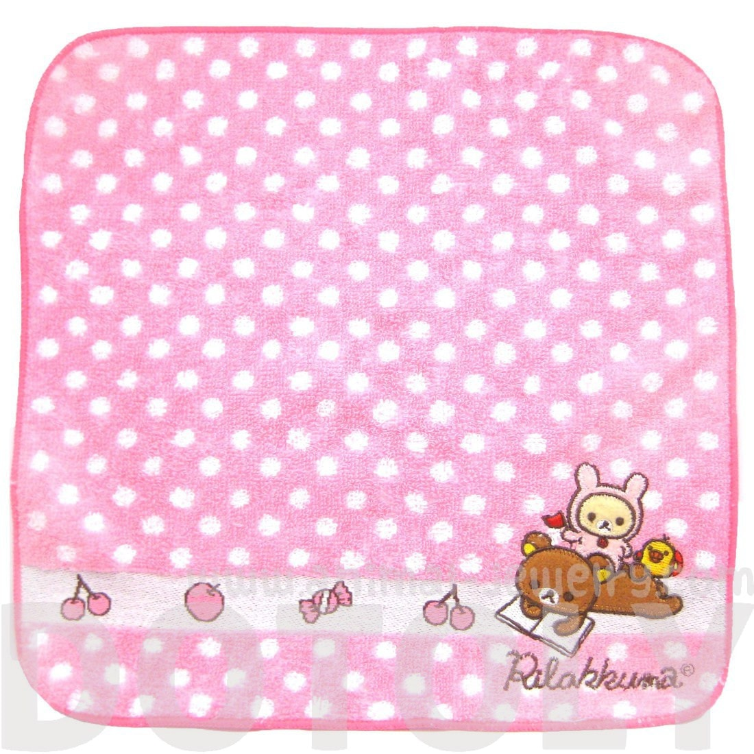 Pink Polka Dotted Embroidered Rilakkuma Bear Handkerchief Face Towel