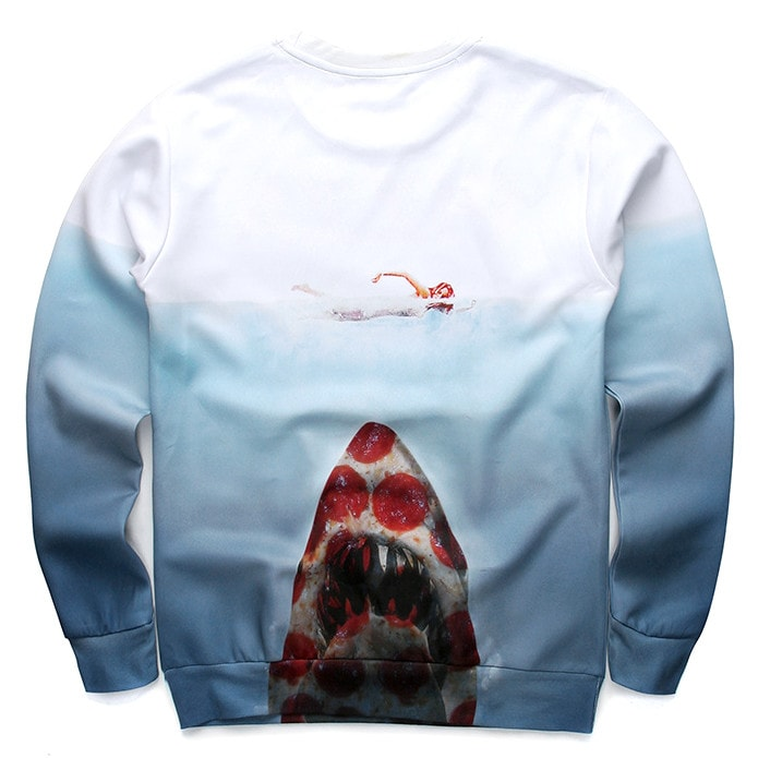 Pizza Shark Jaws Movie Parody Digital Print Sweater