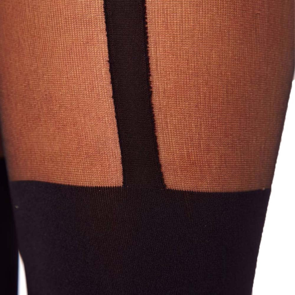 Plain Stripe Faux Suspender Thigh High Garter Sheer Tights for Women