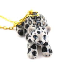 Playful Porcelain Snow Leopard Cub Shaped Ceramic Pendant Necklace