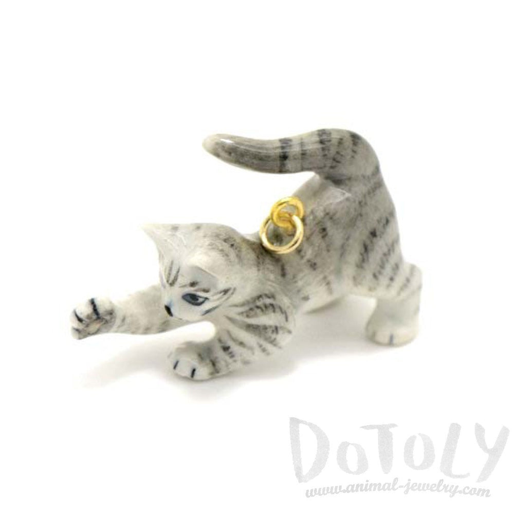 Playful Striped Kitty Cat Porcelain Hand Painted Ceramic Animal Pendant Necklace | Handmade | DOTOLY