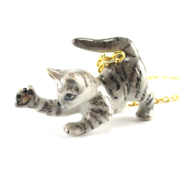 Playful Striped Kitty Cat Porcelain Ceramic Animal Pendant Necklace