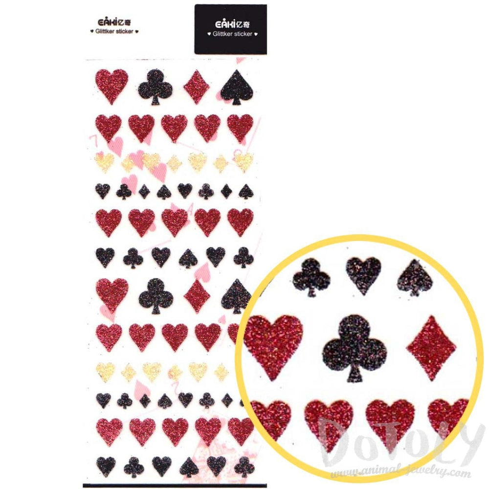 Playing Card Motif Suit Hearts Clubs Diamonds Spades Shaped Glittery Stickers | DOTOLY
