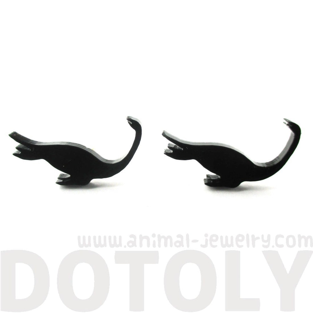 Plesiosaurs Dinosaur Loch Ness Silhouette Shaped Stud Earrings