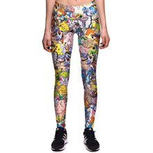 Pokemon Go Inspired All Over Collage Print Leggings for Women