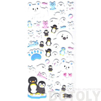 Kawaii Polar Bear and Penguin Shaped Arctic Animal Puffy Stickers