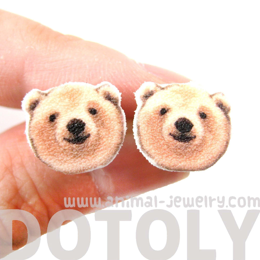 Polar Bear Head Animal Shaped Stud Earrings | Handmade Shrink Plastic