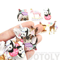 Circus Animals Panda Giraffe Penguin Photo Sticker Seals From Japan