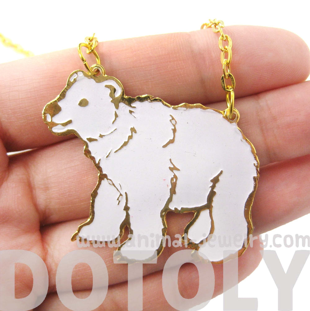 polar-bear-shaped-enamel-animal-pendant-necklace-limited-edition