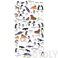 Polar Bear Walrus Penguin Shaped Arctic Animal Themed Puffy Stickers