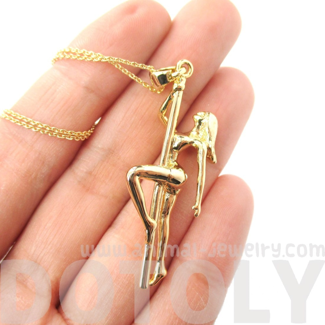 Pole Dancer Aerial Dance Girl Pendant Necklace in Gold