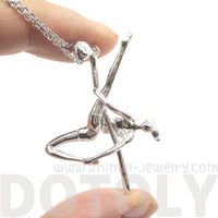 Pole Dancing Aerial Dance Themed Necklace in Silver