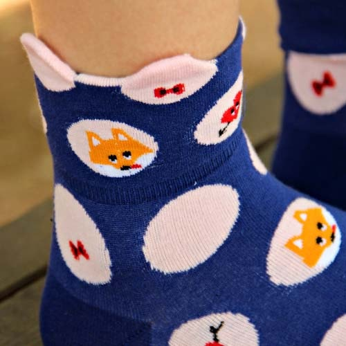 polka-dot-and-bow-tie-fox-animal-graphic-print-cotton-short-socks-for-women