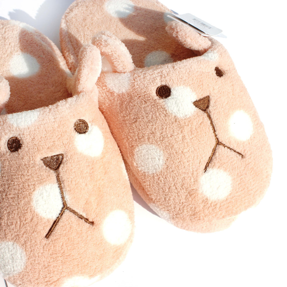 Polka Dotted Bunny Rabbit Animal Shaped Slip-On Slippers for Women