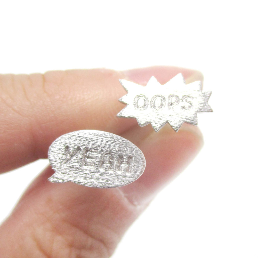 Pop Art Oops Yeah Speech Bubble Shaped Stud Earrings