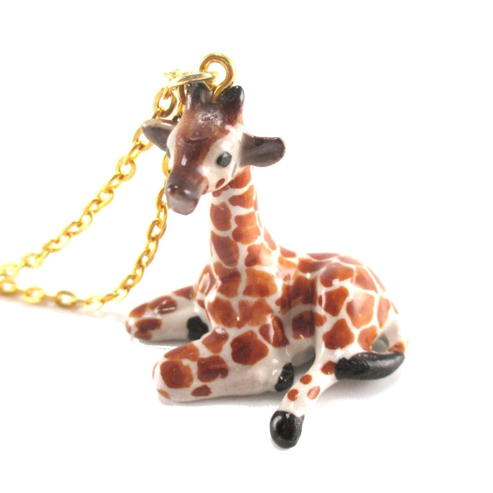 Porcelain Baby Giraffe Shaped Handmade Ceramic Animal Pendant Necklace