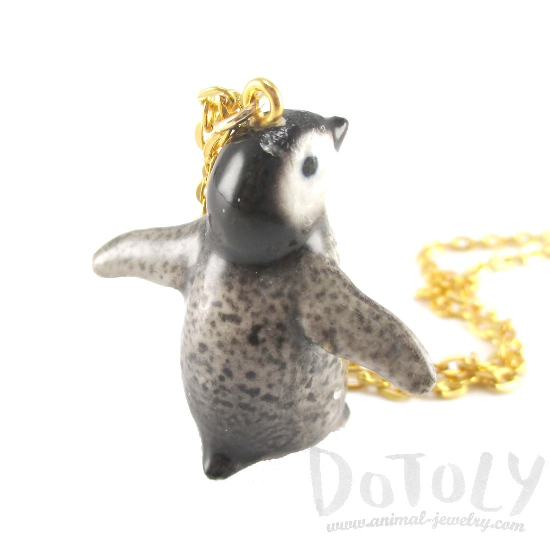 Porcelain Baby Penguin Bird Shaped Ceramic Animal Pendant Necklace