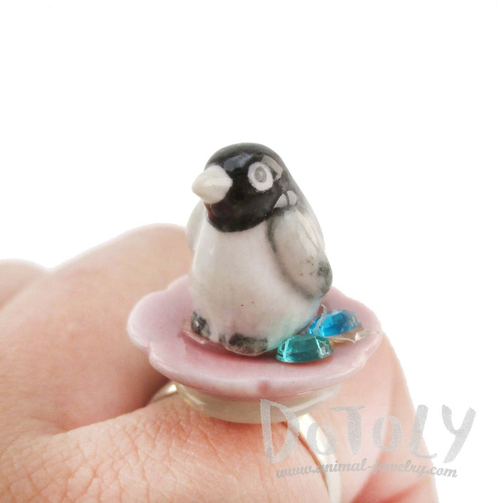 Porcelain Baby Penguin on a Flower Petal Shaped Adjustable Animal Ring