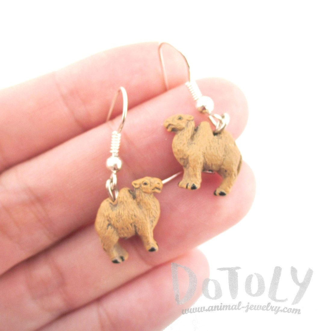 Porcelain Bactrian Camel Shaped Ceramic Dangle Earrings | Handmade