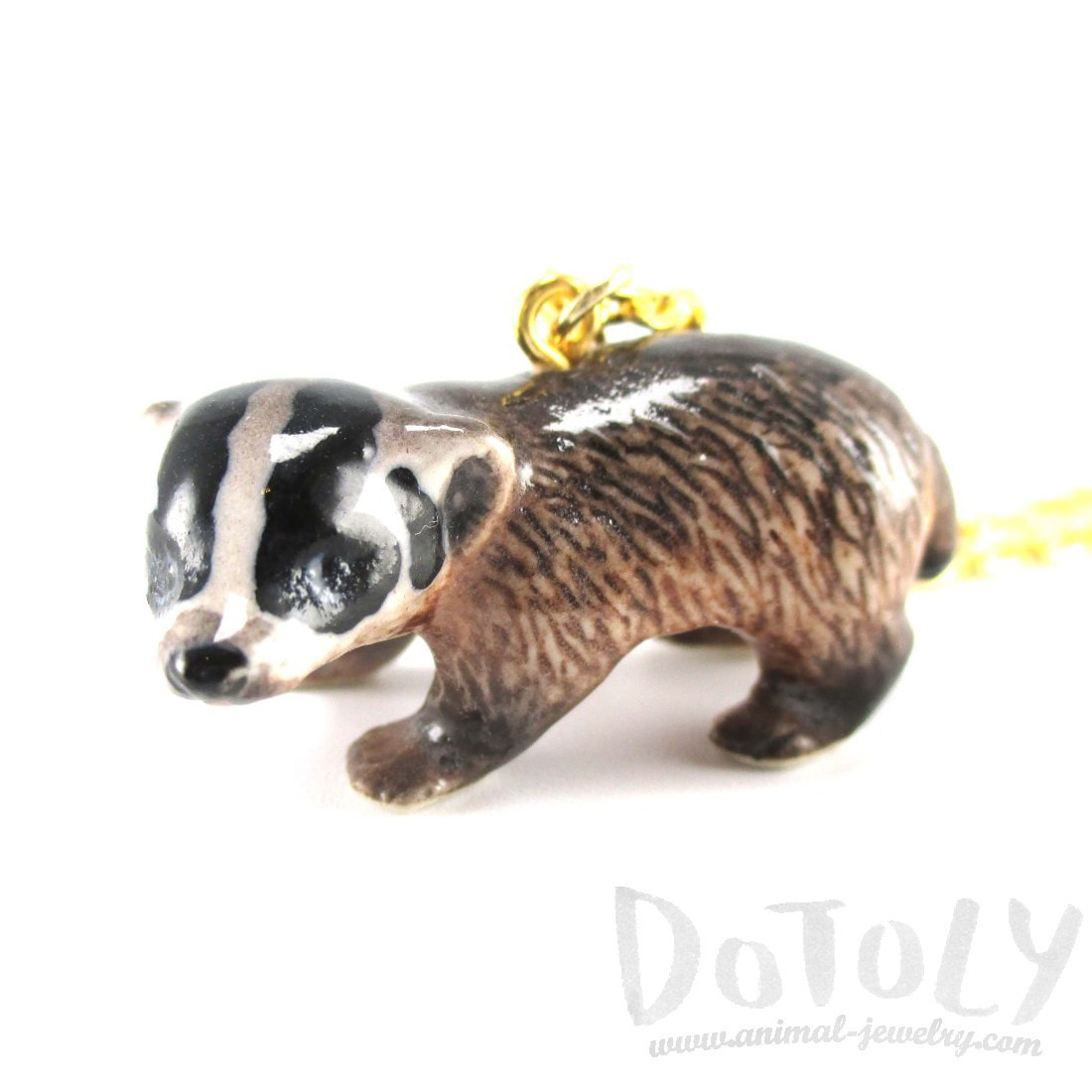 Porcelain Badger Shaped Hand Painted Ceramic Animal Pendant Necklace