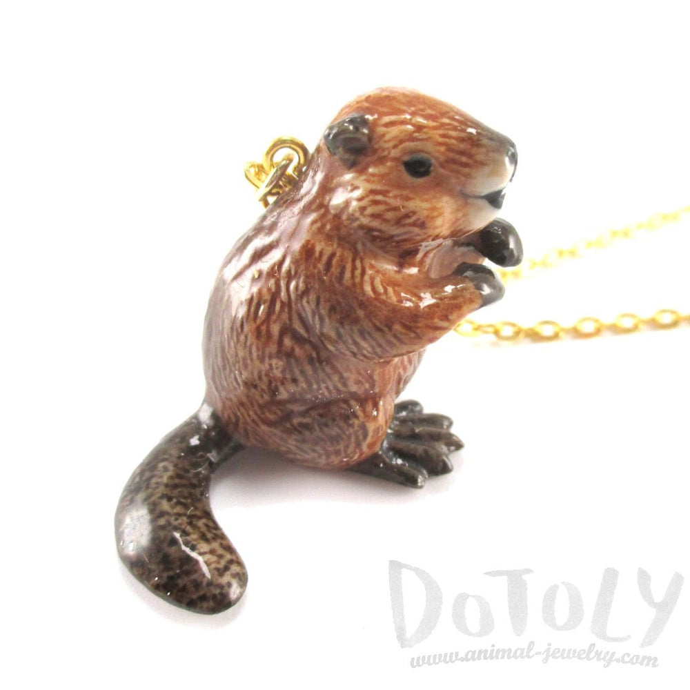 Porcelain Beaver Shaped Hand Painted Ceramic Animal Pendant Necklace