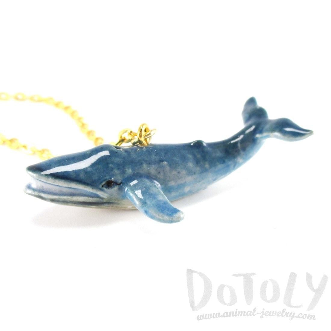 Porcelain Blue Whale Shaped Handmade Ceramic Animal Pendant Necklace