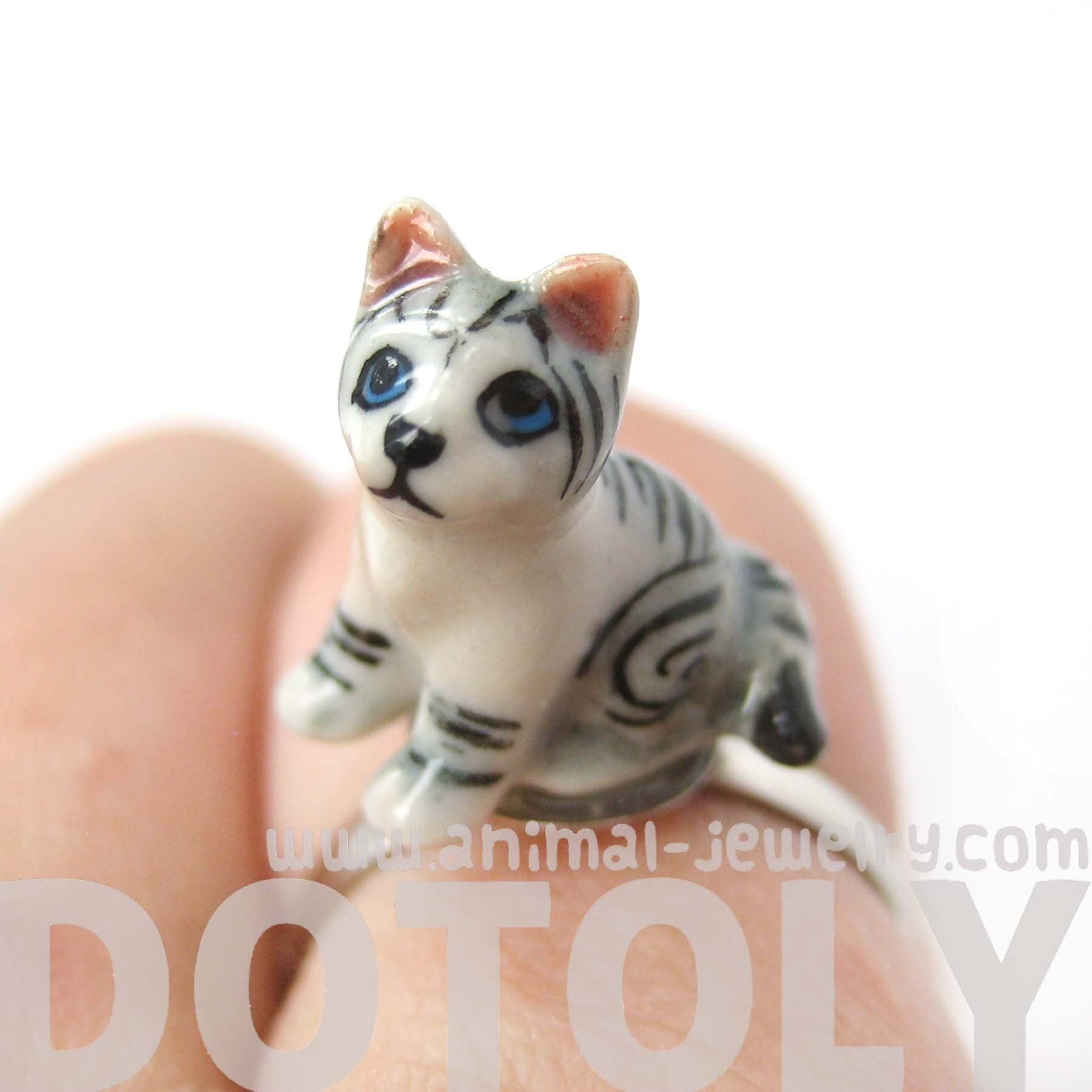 Porcelain Ceramic Adorable Kitty Cat Animal Adjustable Ring | Handmade