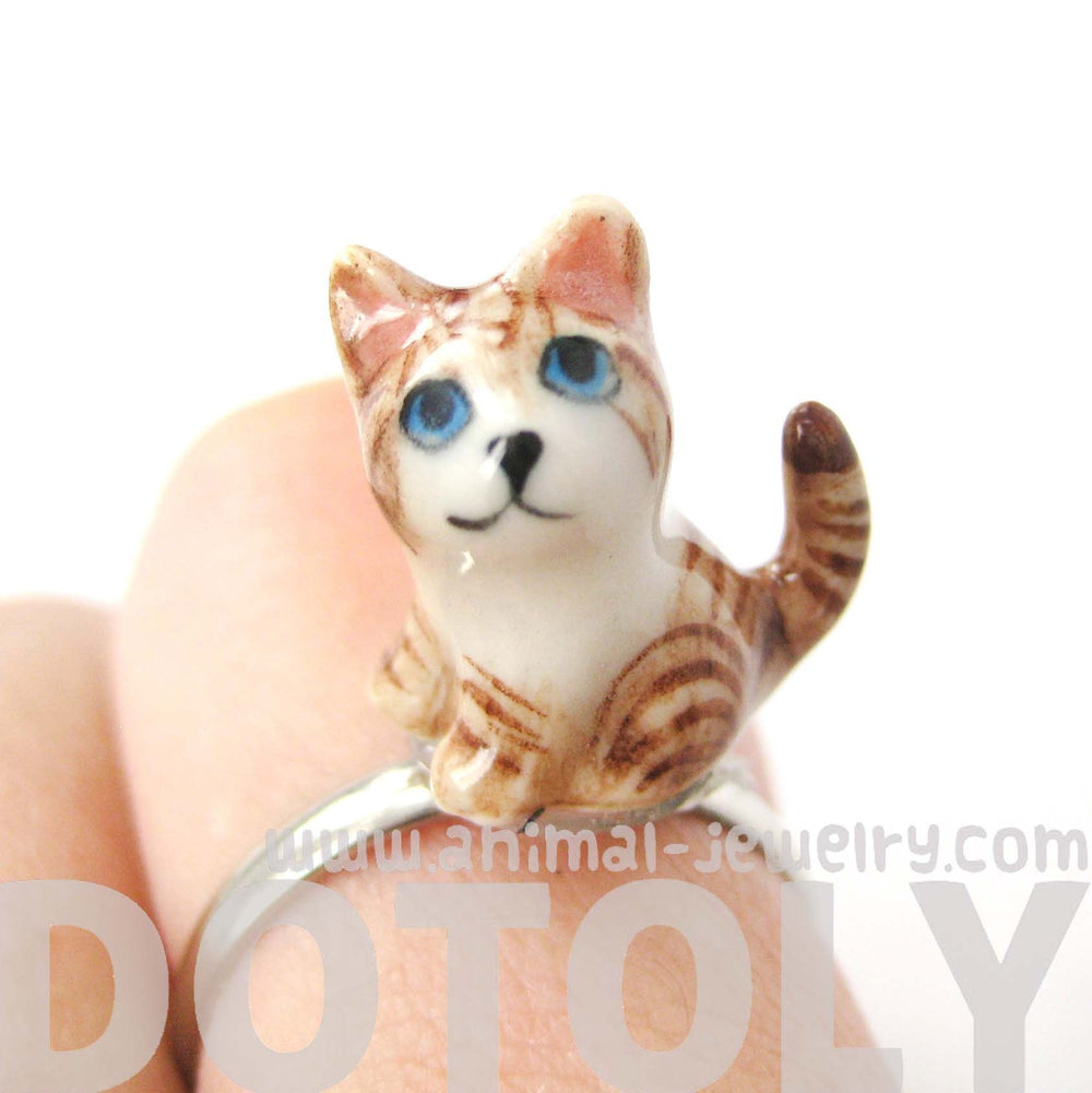 porcelain-ceramic-brown-and-white-kitty-cat-animal-adjustable-ring-handmade