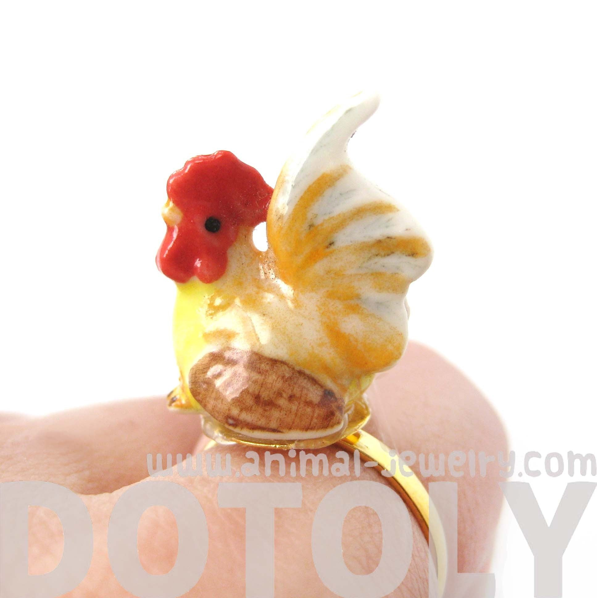 porcelain-ceramic-chicken-rooster-hen-bird-animal-adjustable-ring-handmade