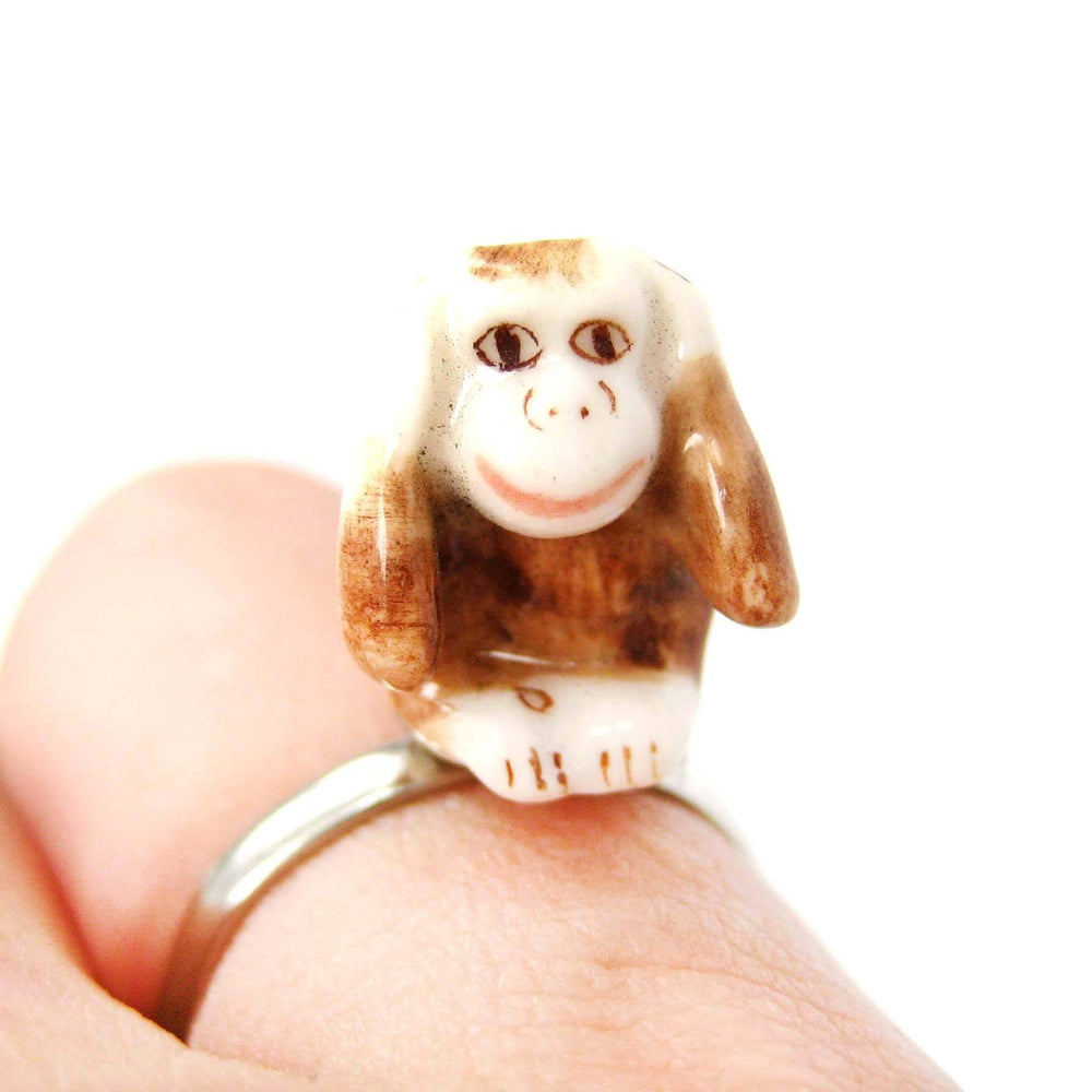 porcelain-ceramic-monkey-with-hands-over-ears-animal-adjustable-ring-handmade