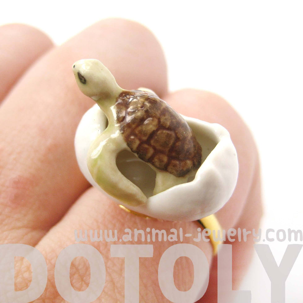 porcelain-ceramic-sea-turtle-hatching-from-egg-shaped-adjustable-ring-handmade