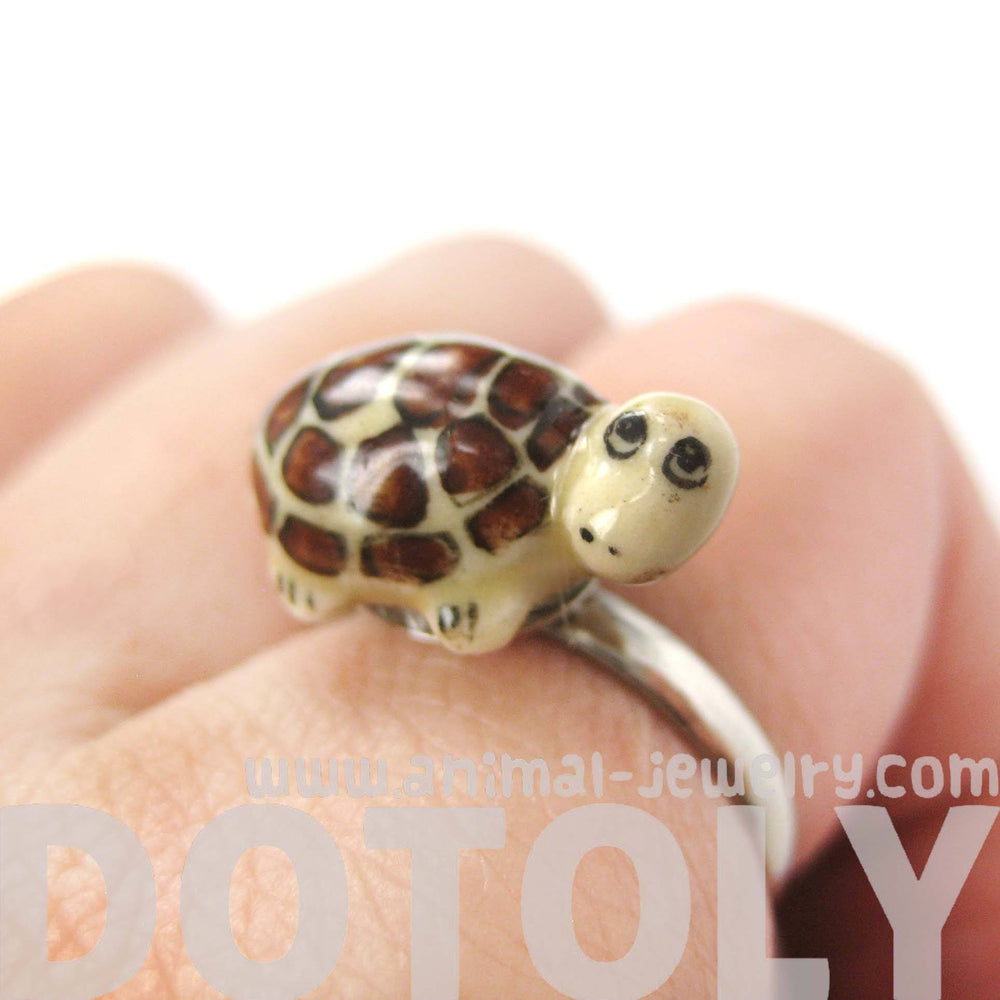 porcelain-ceramic-turtle-shaped-animal-adjustable-ring-handmade