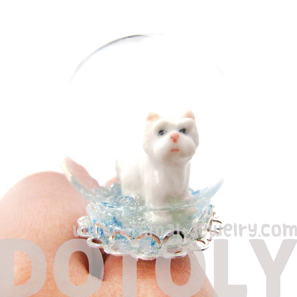 Porcelain Ceramic White Terrier Puppy Dog Snow Globe Adjustable Ring