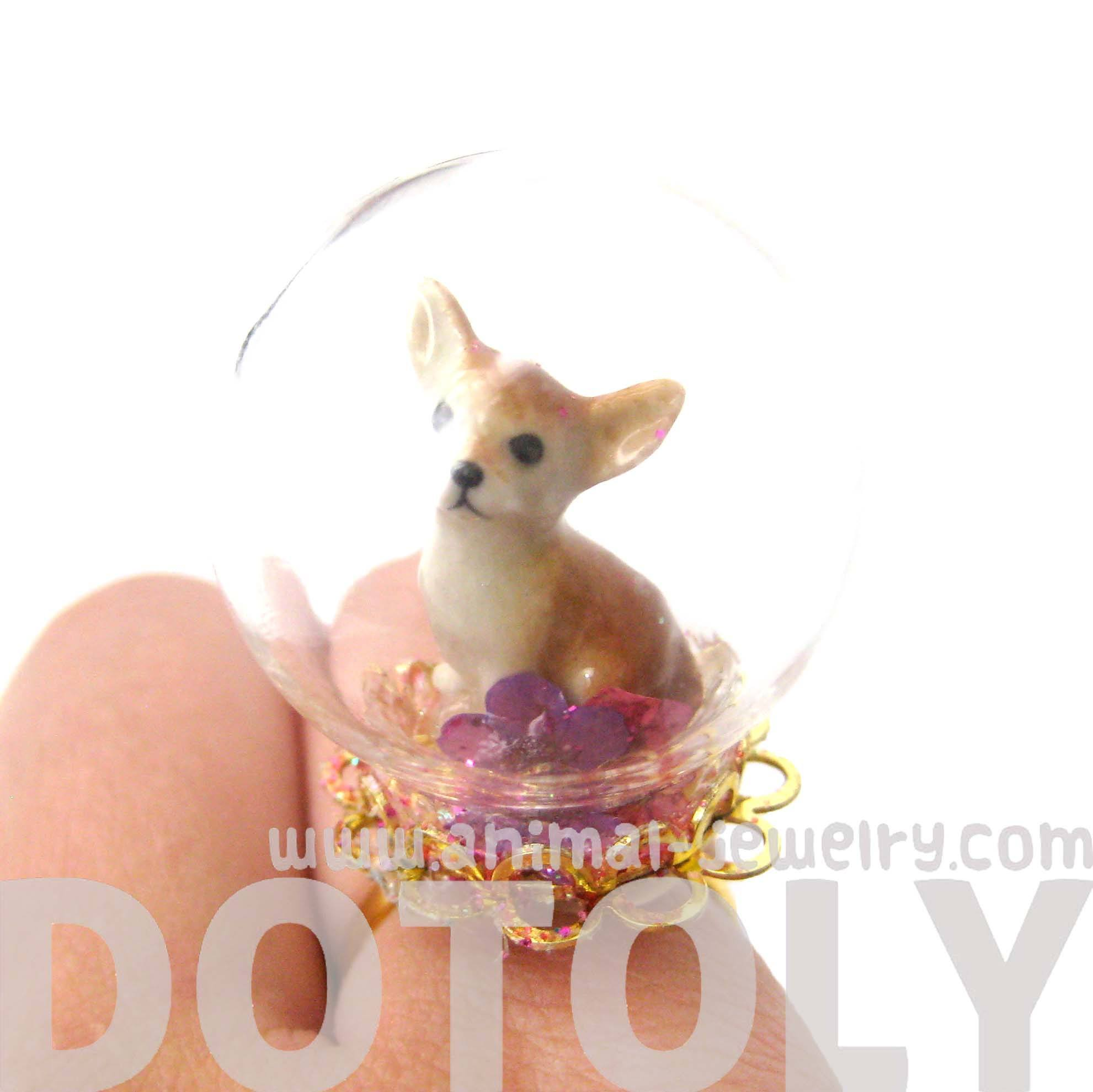 Porcelain Chihuahua Puppy Dog Glass Snow Globe Bubble Adjustable Ring