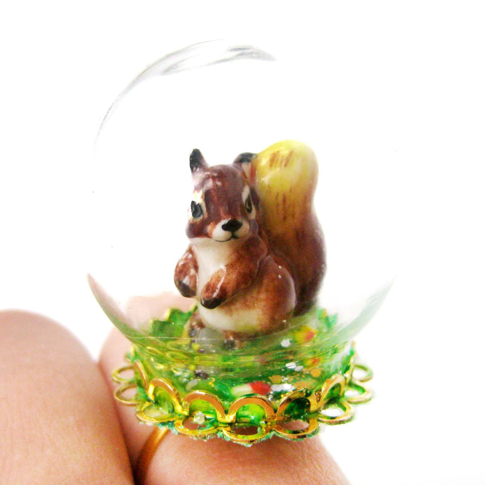 Porcelain Chipmunk Squirrel Glass Snow Globe Bubble Adjustable Ring